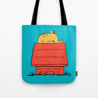 snoopy Tote Bags featuring Snoopy Time! by penguinline