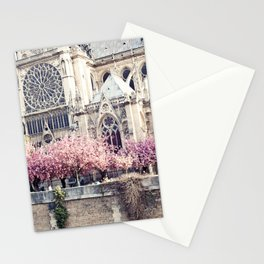 Cherry blossoms in Paris, Notre Dame Viwe Stationery Cards