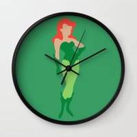 poison ivy Wall Clocks featuring Poison Ivy by karla estrada