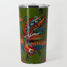 rooster ink green Travel Mug