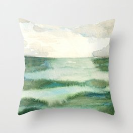Emerald Sea Watercolor Print Throw Pillow
