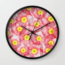 Pink poppy flowers Wall Clock