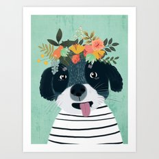 PUPPY DOGS WITH FLOWERS Art Print