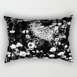 Black and White Wild Flowers Pastel Sketch Effect Nature Rectangular Pillow