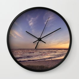view of the Manistique lighthouse at sunset Wall Clock