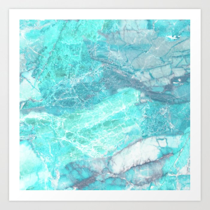 Marble Turquoise Blue Agate Art Print
