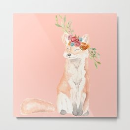 Watercolor fox flower crown peach Metal Print
