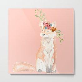 Watercolor fox flower crown peach Metal Print