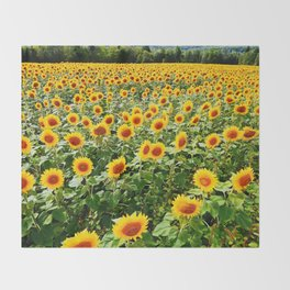 Field of Sunny Flowers Throw Blanket