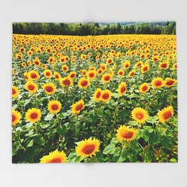 Field of Sunny Flowers Throw Blanket