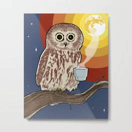 Coffee Owl Metal Print