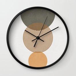 MINIMALIST CIRCULAR SHAPES - GREEN AND BROWN Wall Clock