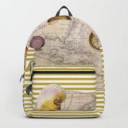 Marine Treasures Mustard Yellow Stripes Backpack