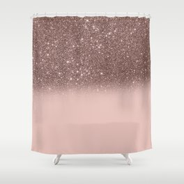 Rose Gold Glitter Ombre Shower Curtain