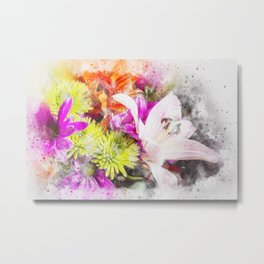 Pretty Watercolour Floral Bouquet Metal Print