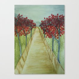 Watercolor Tree-lined Path Canvas Print