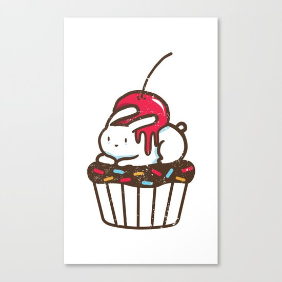 Chubby Bunny on a cupcake Canvas Print