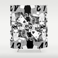 caleb troy Shower Curtains featuring Troy Polamalu's Poodle Hair by sabsurd
