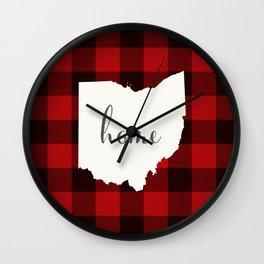 Ohio is Home - Buffalo Check Plaid Wall Clock