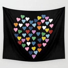 Hearts Heart Black Wall Tapestry