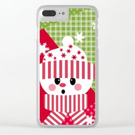 Snowman. Patchwork 1 Clear iPhone Case