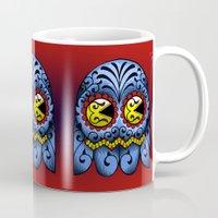pacman Mugs featuring Sugarskull Pacman by tshirtsz