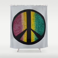rasta Shower Curtains featuring Rasta Peace by ChiWolfMother