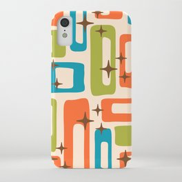 Retro Mid Century Modern Abstract Pattern 921 Orange Chartreuse Turquoise iPhone Case