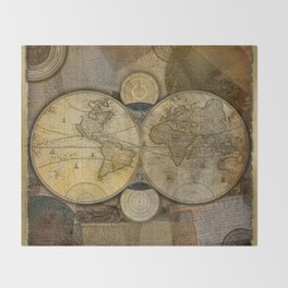 """Vintage paper & Maps (burlap texture)"" Throw Blanket"