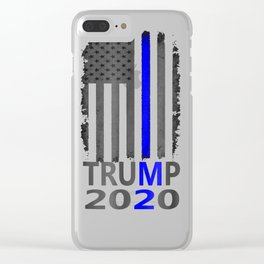 Thin Blue Line Trump 2020 T-Shirt American Flag Vintage Clear iPhone Case