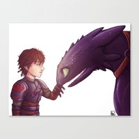 hiccup Canvas Prints featuring Hiccup & Toothless by MaliceZ