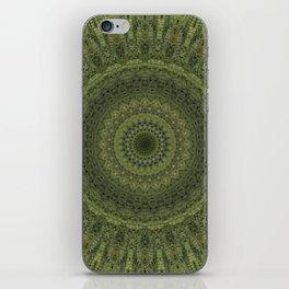 Green mandala with hern ornaments. iPhone Skin