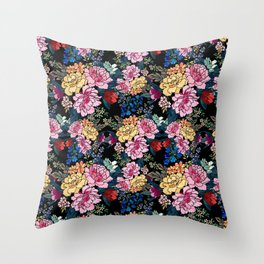 stylish winter flowers bouquets illustration Throw Pillow