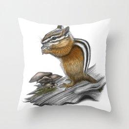 Chipmunk and mushrooms Throw Pillow