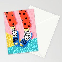 Shuvit - memphis retro fashion slides retro bright neon happy art basic decor Stationery Cards