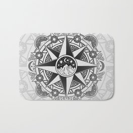 Journey to Moon Mountain | Black & Grays Bath Mat