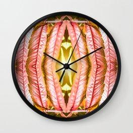 Fresh orange sumac leaves pattern surreal shaped symmetrical kaleidoscope Wall Clock