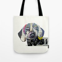 dachshund Tote Bags featuring dachshund  by bri.buckley