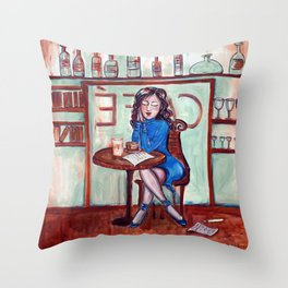 Cafe Quotidien Throw Pillow