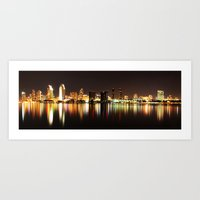 san diego Art Prints featuring San Diego by Monika Siauw