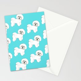 Bichon Frise on aqua / teal / cute dogs/ dog lovers gift Stationery Cards