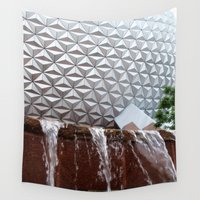 spaceship Wall Tapestries featuring Spaceship Earth Fountain by L.D. Franklin