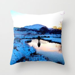 Snowy puddles Throw Pillow