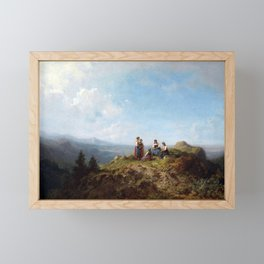 Carl Spitzweg Girls on a Pasture Framed Mini Art Print
