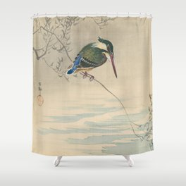 Kingfisher - Ohara Koson (ca. 1920) Shower Curtain