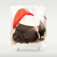 puppy Shower Curtains featuring Christmas puppy  by UtArt