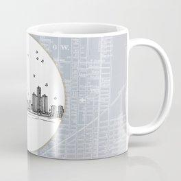 Detroit, Michigan City Skyline Illustration Drawing Coffee Mug