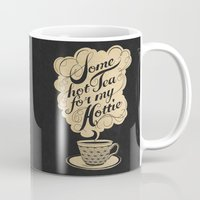 kitchen Mugs featuring Some Hot Tea For My Hottie by Laura Graves