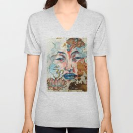 Buddah, lotus and OM Unisex V-Neck