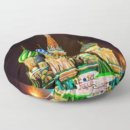 Saint Basil's Cathedral On Moscow Red Square At Winter Night Floor Pillow